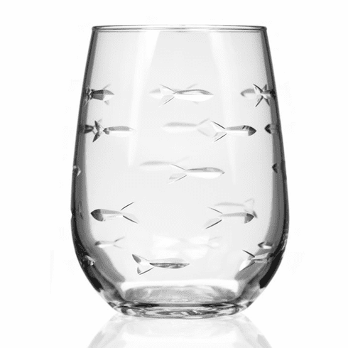 School of Fish Stemless Wine Glasses
