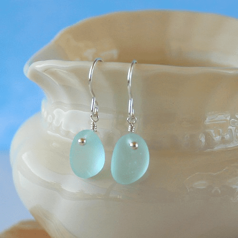 Sea Glass Earrings with Sterling Wires