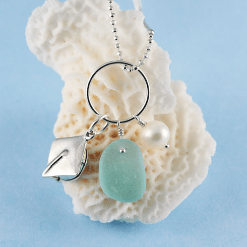 Sea Glass Necklace with Graduation Cap