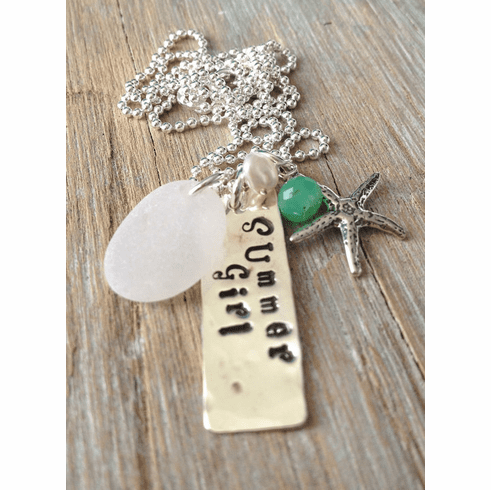 Sea Glass Necklace with Hand Stamped Silver Tag
