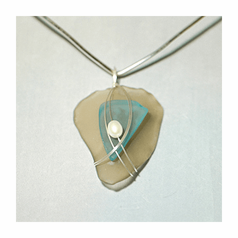 Sea Glass Pendant - Taupe