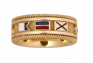 Signal Flag Band Ring With<br > Diamonds & Rope Border