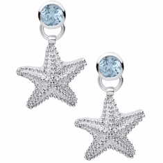 Starfish Earrings with Blue Topaz