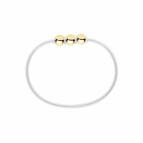 Sterling and 14K Yellow Gold Triple Ball Cape Cod Bracelet