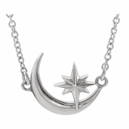 Sterling Crescent Moon & Star Necklace