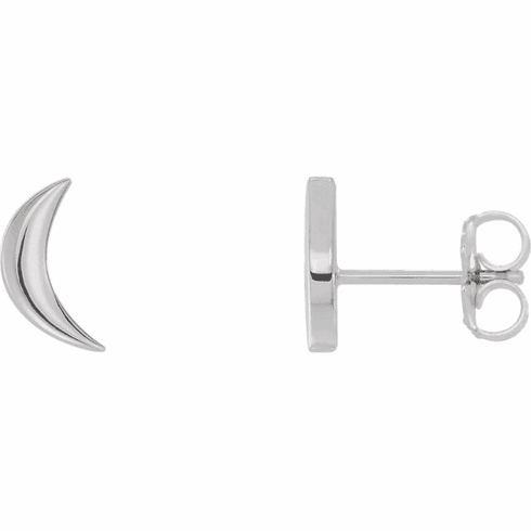 Sterling Crescent Moon Stud Earrings - Click to enlarge