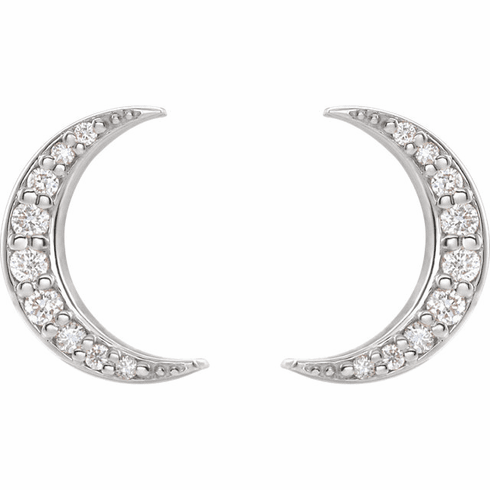 Sterling Diamond Crescent Moon Earrings