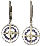 Sterling Silver & 14K Yellow Gold Blue Sapphire & Diamond Compass Earrings