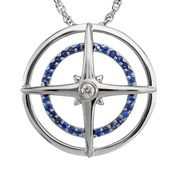 Sterling Silver Blue Sapphire & Diamond Compass Pendant
