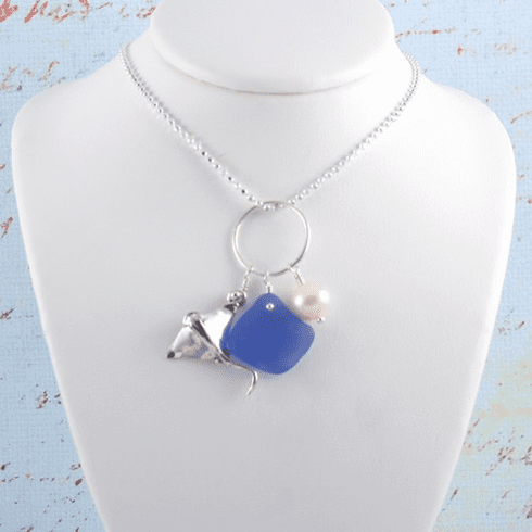 Stingray Sea Glass Charm Necklace