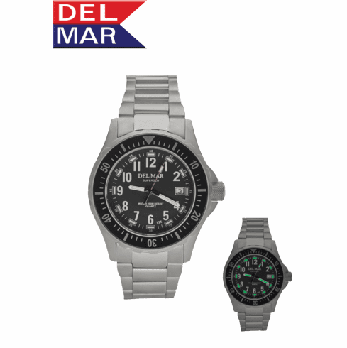 SuperGlo Sportsman's 200 Meter Watch With Metal-Band