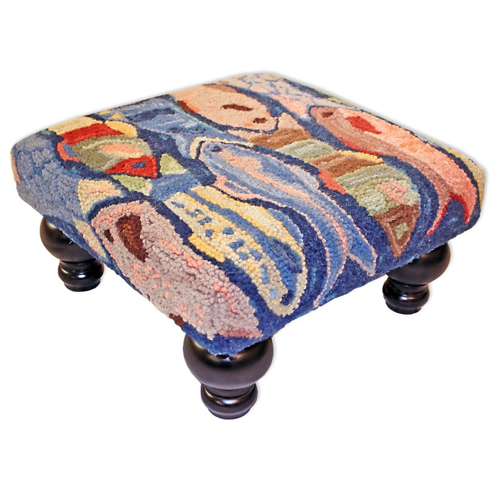 Swimming Fish Hooked Wool Stool - Click to enlarge