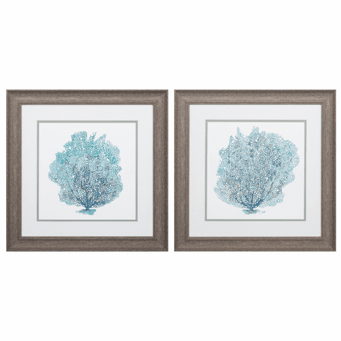 Teal Coral On White - Set of 2