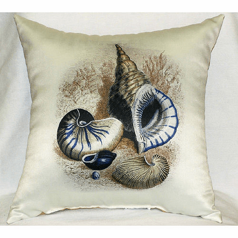 Three Shells Antique Print Indoor and Outdoor Pillow