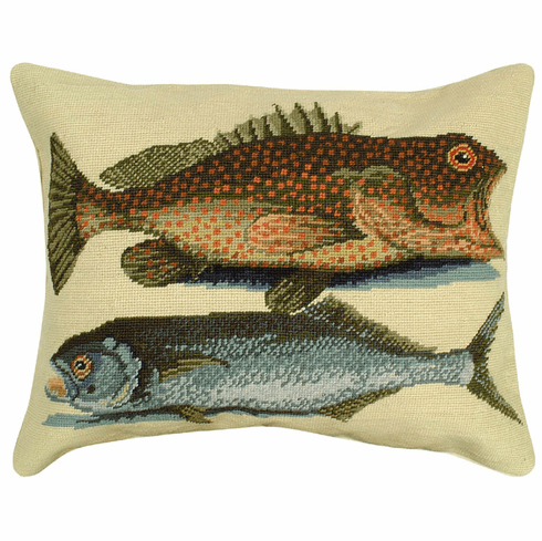 Two Fish Needlepoint Pillow