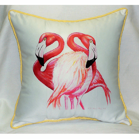 Two Flamingos Indoor and Outdoor Pillow
