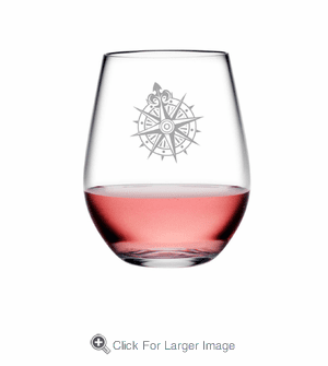 Voyager Compass Tritan Shatterproof Stemless Wine Tumblers - Click to enlarge
