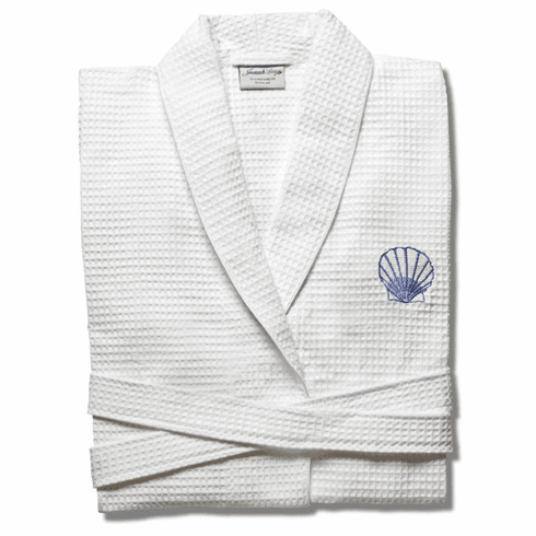 Waffle Weave Bathrobe with Blue Scallop Shell