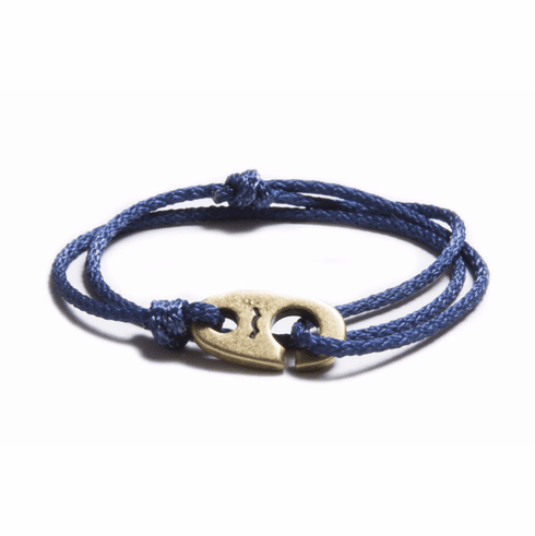 Weathered Brass Charger Marine Cord Bracelet