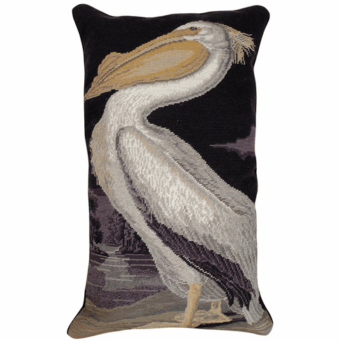 White Pelican Needleppoint Pillow