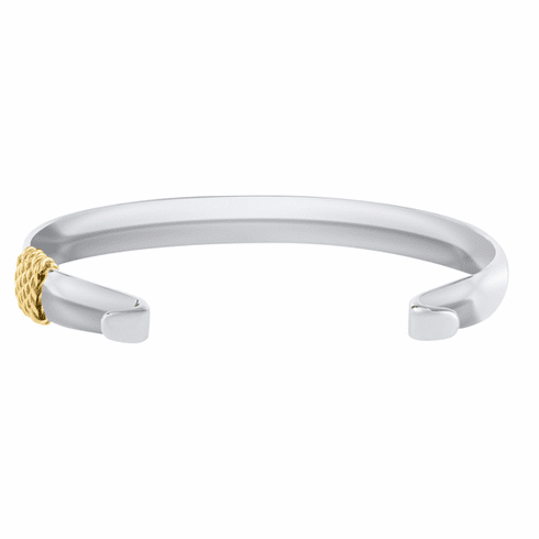 Wide Convertible Bracelet with Yellow Gold Wrap