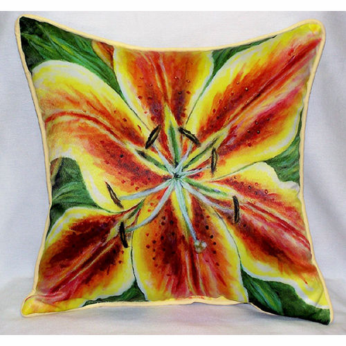 Yellow Lily Indoor and Outdoor Pillow