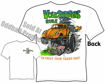 Volkswagens Rule Rat Fink Tshirt Bug Ed Roth Tee Big Daddy Clothing