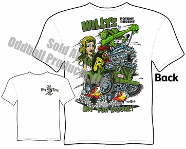Willys Jeep Rat Fink T Shirt Big Daddy Tee Ed Roth Apparel