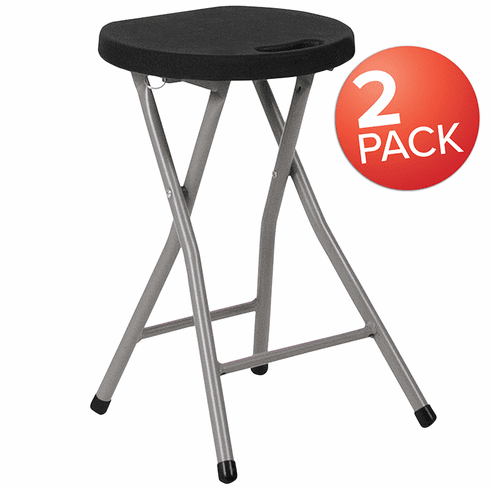 Excellent 2 Pack Foldable Stool With Black Plastic Seat And Titanium Frame 2 Dad Ycd 30 Gg Uwap Interior Chair Design Uwaporg