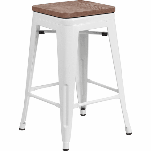 Brilliant 24 High Backless White Metal Counter Height Stool With Square Wood Seat Ch 31320 24 Wh Wd Gg Gamerscity Chair Design For Home Gamerscityorg