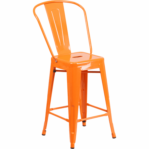 Fine 24 High Orange Metal Indoor Outdoor Counter Height Stool With Back Ch 31320 24Gb Or Gg Unemploymentrelief Wooden Chair Designs For Living Room Unemploymentrelieforg