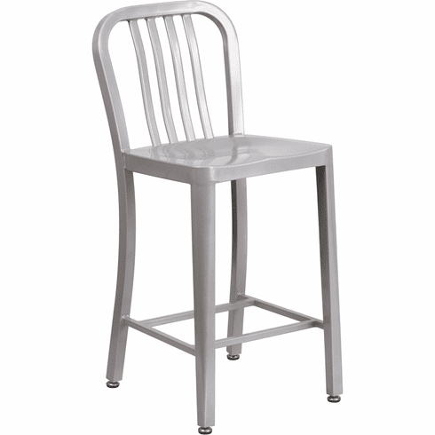 Fabulous 24 High Silver Metal Indoor Outdoor Counter Height Stool With Vertical Slat Back Ch 61200 24 Sil Gg Unemploymentrelief Wooden Chair Designs For Living Room Unemploymentrelieforg