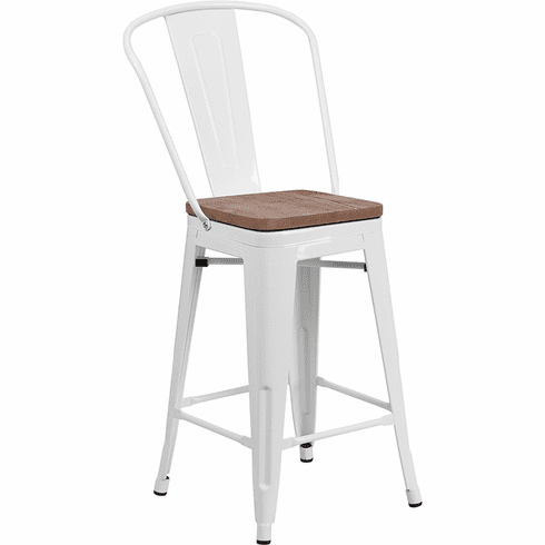 Cool 24 High White Metal Counter Height Stool With Back And Wood Seat Ch 31320 24Gb Wh Wd Gg Unemploymentrelief Wooden Chair Designs For Living Room Unemploymentrelieforg