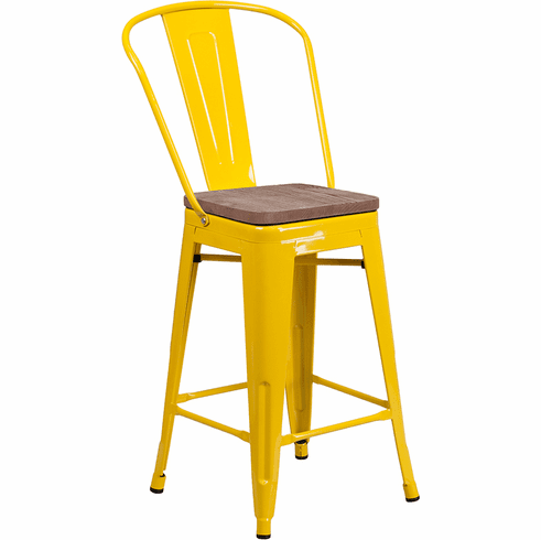 Astounding 24 High Yellow Metal Counter Height Stool With Back And Wood Seat Ch 31320 24Gb Yl Wd Gg Unemploymentrelief Wooden Chair Designs For Living Room Unemploymentrelieforg