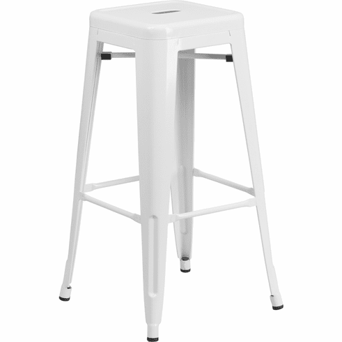 Swell 30 High Backless White Metal Indoor Outdoor Barstool With Square Seat Ch 31320 30 Wh Gg Machost Co Dining Chair Design Ideas Machostcouk