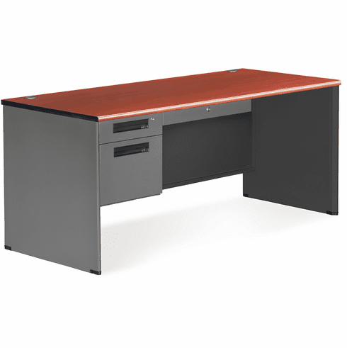 30X67 Single Pedestal Panel End Desk [77366]