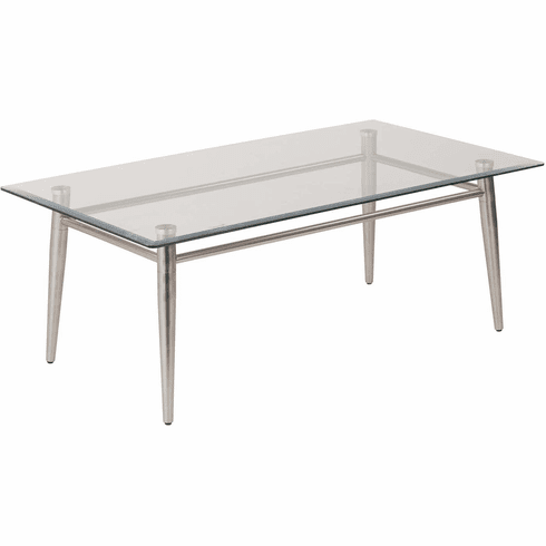Ave Six Brooklyn Clear Glass Top Coffee Table Nickel Legs [MG1242S-NB]
