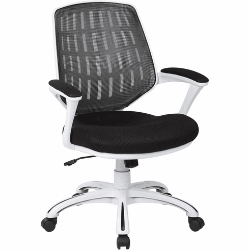 Ave Six Calvin Office Arm Chair White Frame Black Mesh [CLVA26-W3]