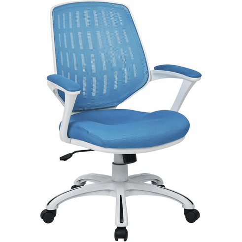 Ave Six Calvin Office Arm Chair White Frame Blue Mesh [CLVA26-W7]