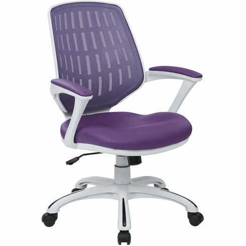 Ave Six Calvin Office Arm Chair White Frame Purple Mesh [CLVA26-W512]