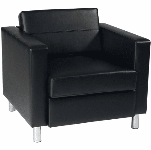 Ave Six Pacific Black Faux Leather Armchair Box Spring Seat [PAC51-V18]