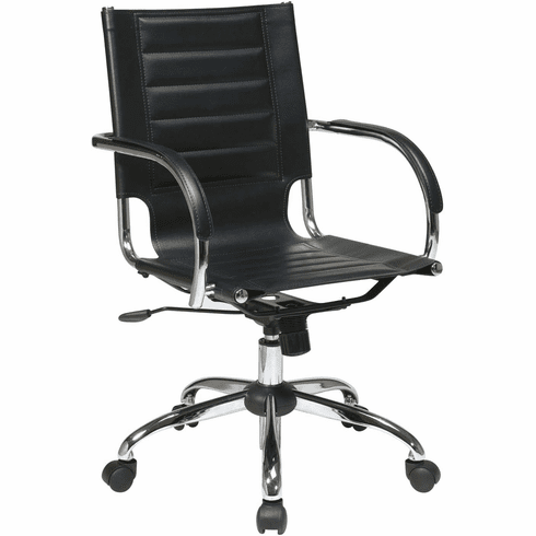 Ave Six Trinidad Black Office Chair Fixed Padded Arms [TND941A-BK]