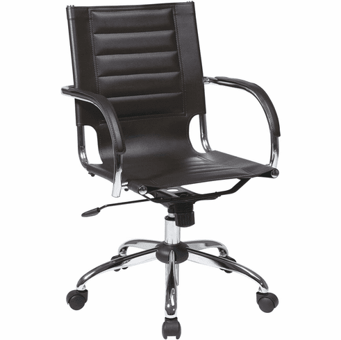 Ave Six Trinidad Espresso Office Chair Fixed Padded Arms [TND941A-ES]
