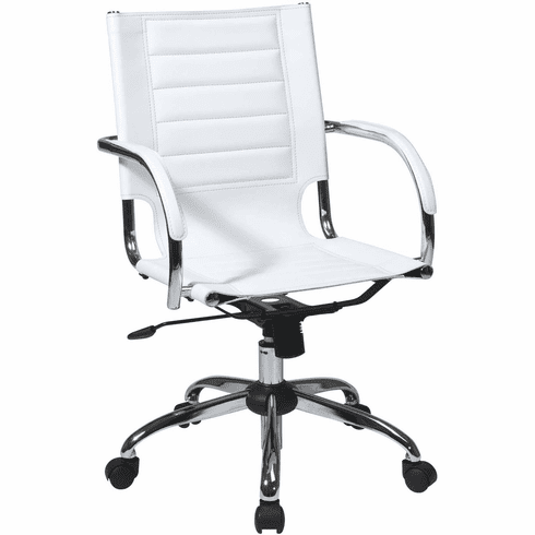 Ave Six Trinidad White Office Chair Fixed Padded Arms [TND941A-WH]