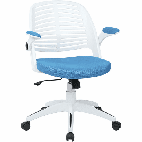 Ave Six Tyler Office Chair White Frame Blue Fabric [TYLA26-W7]