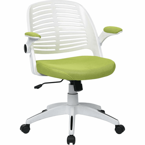 Ave Six Tyler Office Chair White Frame Green Fabric [TYLA26-W6]