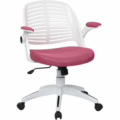 Ave Six Tyler Office Chair White Frame Pink Fabric [TYLA26-W261]
