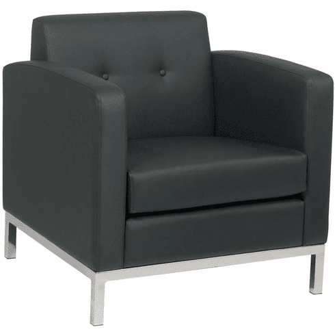 Ave Six Wall Street Arm Chair Black Faux Leather [WST51A-B18]