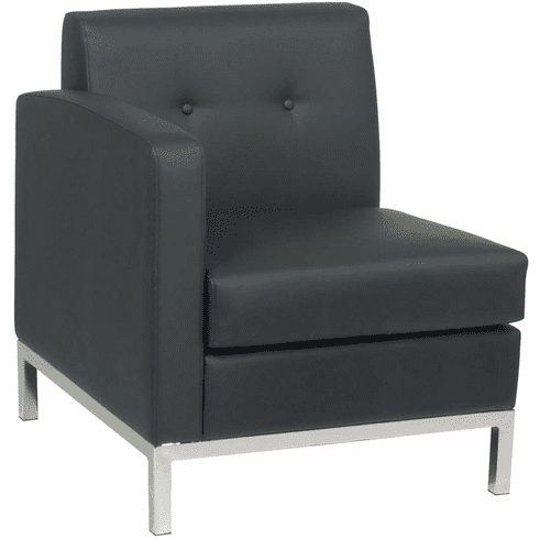 Ave Six Wall Street Arm Chair LAF Black Faux Leather [WST51LF-B18]