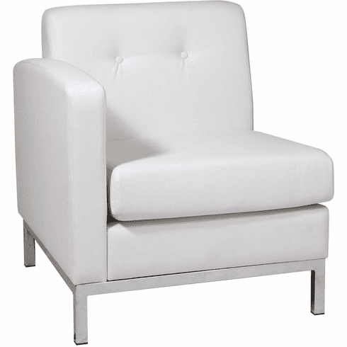 Ave Six Wall Street Arm Chair LAF White Faux Leather [WST51LF-W32]
